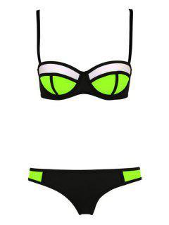 Color Block Plaid Bikini Set - Black Xl