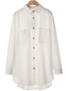 Side Zipper Asymmetrical Shirt - White M