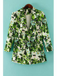 Green Leaves Print Long Sleeve Blazer - Green S