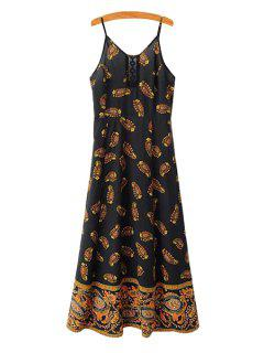 Print Lace Splicing Sleeveless Dress - Black M