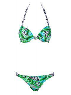 Leopard Print Push-Up Bikini Set - Green M