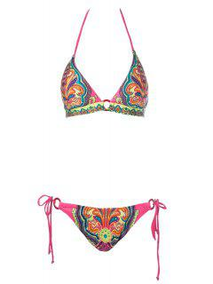 Print Halter Side-Tie Bikini Set - Red M