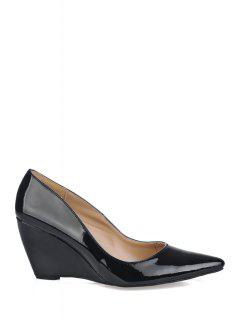 Patent Leather Pointed Toe Wedge Shoes - Black 39