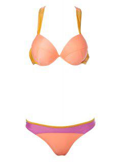 Color Block Splicing Straps Bikini Set - Orange S