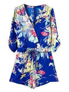 Floral Print 3/4 Sleeve Romper - Blue M