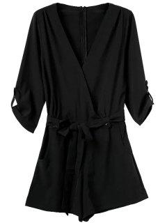 V-Neck Solid Color Tie-Up Romper - Black S