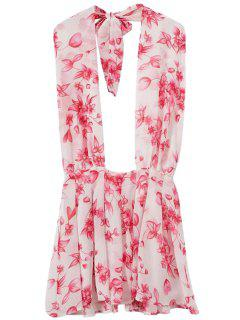 Floral Halter Backless Dress - Pink L