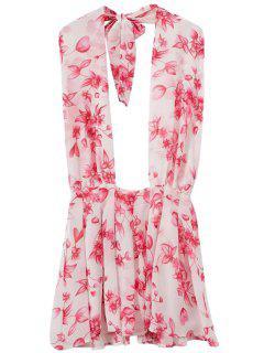 Floral Halter Backless Dress - Pink M