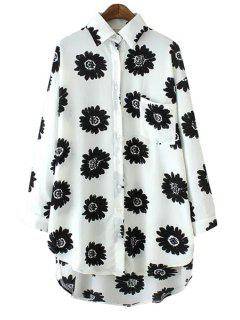 Asymmetrical Floral Print Long Sleeve Shirt - Black