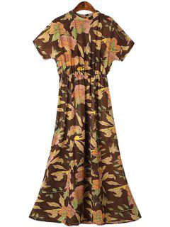 Round Neck Floral Print Ruffle Dress - S