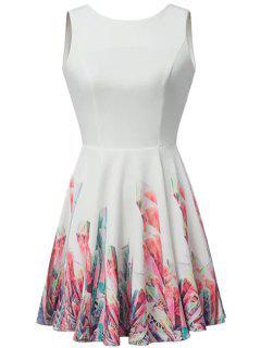 Sin Respaldo Imprimir Vestido Sin Mangas - Blanco L