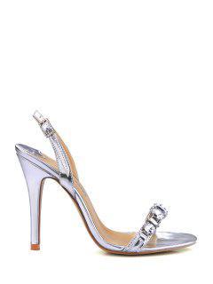 Stiletto Heel Rhinestones PU Leather Sandals - Silver 39