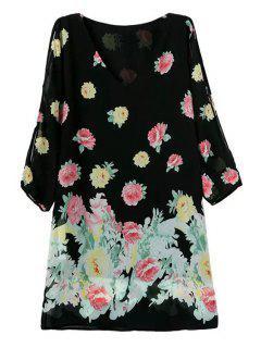 Vestido Floral De 3/4 Off-The-Hombro - Negro L
