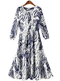 Imprimer Manches 3/4 Robe En Mousseline De Soie - Bleu Violet L