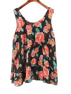 Full Floral Chiffon Tank Top - Black S