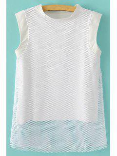 Mesh Splicing Sleeveless T-Shirt - White M