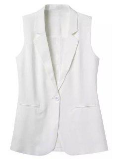 Lapel Solid Color Sleeveless Waistcoat - White L