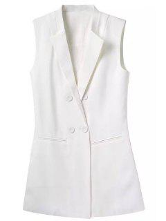 Lapel Buttons Solid Color Waistcoat - White L