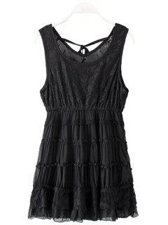Lace Splicing Sleeveless Layered Dress - Black