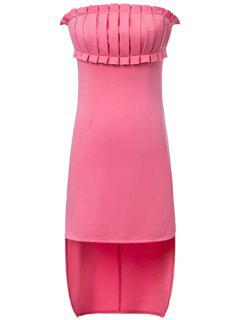 Solid Color Ruffle Splicing Asymmetrical Dress - Pink L