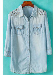 Sequined Embellished Denim 3/4 Sleeve Shirt - Light Blue S