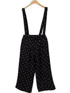 Polka Dot Print Straps Overalls - Black L