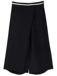 Black Wide Leg Capri Pants - Black S