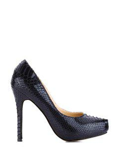 Stiletto Heel Snake Print Pumps - Black 37