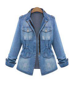 Bleach Wash Ruffle Denim Long Sleeve Coat - Blue L