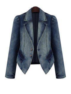 Bleach Wash Denim Long Sleeve Coat - Deep Blue 5xl
