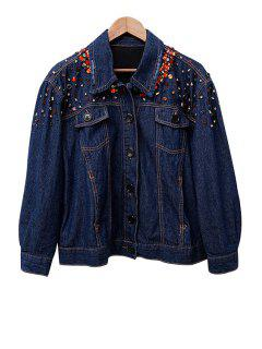 Rhinestoned Denim Long Sleeve Coat - Purplish Blue S