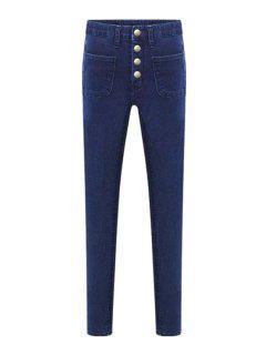 Bleach Wash Four Buttons High Waist Jeans - Deep Blue Xl