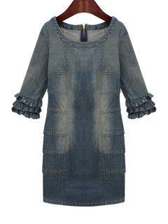 Bleach Wash Flounce Splicing Denim Dress - Purplish Blue L