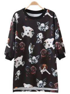 Puppy Print Half Sleeve T-Shirt - Black M