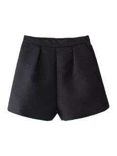 Solid Color Wide Leg High Waisted Shorts - Black M