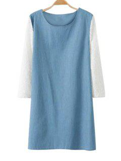 Lace Splicing Denim 3/4 Sleeve Dress - Blue And White S