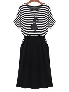 Stripe Figure Print Splicing Dress - White And Black L