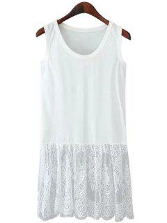 Lace Spliced Scoop Neck Sundress - White M