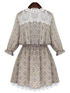 Round Neck Print Lace Splicing Dress - Beige Xl