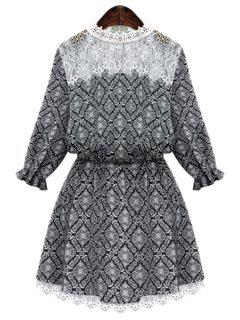 Round Neck Print Lace Splicing Dress - Black 2xl