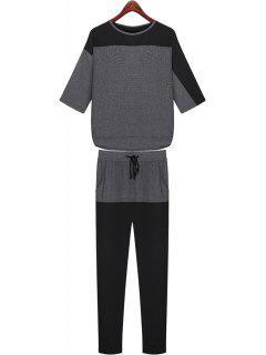 Color Block Half Sleeve T-Shirt + Pants - Deep Gray L