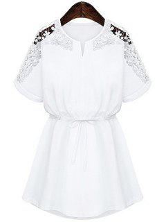 Lace Splicing Tie-Up Short Sleeve Dress - White M