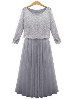 Scoop Neck Sweater + Voile Splicing Sleeveless Dress - Gray