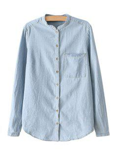 Bleach Wash Denim Long Sleeve Shirt - Blue L