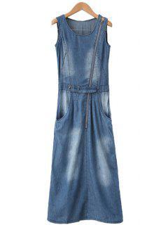 Zipper Embellished Bleach Wash Slit Dress - Blue M
