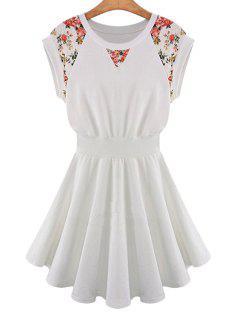 Floral Print Elastic Waist Short Sleeve Dress - Off-white Xl