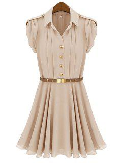 Solid Color Belt Pleated Short Sleeve Dress - Pink Xl