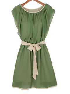 Ruffle Tie-Up Short Sleeve Dress - Army Green M
