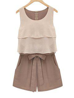 Double Layered Tie-Up Sleeveless Romper - Chocolate M