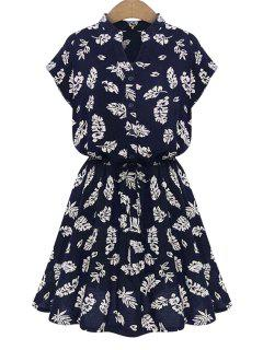 V-Neck Leaves Print Tie-Up Dress - Blue L
